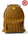 【中古】【美品】MCM エムシーエム ユニセックス 紳士 メンズ レディース 鞄 かばん バッグ リュックサック スタッズ ロゴ キャメル