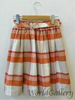 【中古】バーバリーBURBERRYブルーレーベルスカートサイズ36レディースチェック柄オレンジ系送料無料