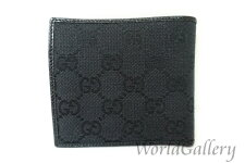 【中古】【美品】グッチGUCCI財布折財布二つ折財布キャンバスレザー革GGGGキャンバスブラック黒Black04862
