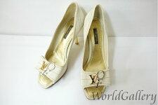 【中古】ルイヴィトンLOUISVUITTONヴィトン靴パンプスサイズ3623cm23,5cmヒールアイボリーロゴ