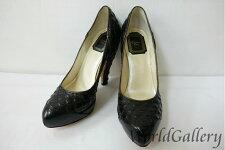 【中古】ディオールDIORレディース婦人パンプスブラック黒blackサイズ3623cm23,5cmヒール