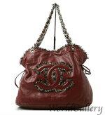 【中古】シャネルCHANEL鞄バッグショルダーバッグチェーンバッグロゴココマークレザー革ボルドー送料無料