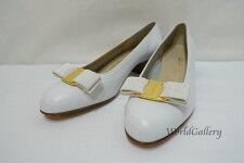 【美品】【中古】フェラガモFerragamoSalvatoreFerragamoレディース婦人靴パンプス白ホワイトリボンサイズ6C6C
