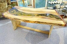 一枚板テーブルテーブルトチノキ栃ジルコニア樹脂レジンパープルハート