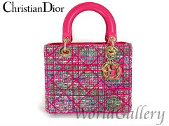 Christian Dior【クリスチャンディオール】 M05500TCF932 ハンドバッグ /レザー×ツィードゴールド金具 レディース