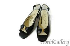 【中古】【美品】フェラガモFERRAGAMOレディース婦人靴パンプスブラック黒Blackロゴヴァラリボンサイズ7Cレザー革23,5cm