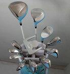 展示品アウトレット!キュートでポップなブルーでいこう!レディース16点ゴルフクラブフルセット 女性用/左用【初心者 初級者 ビギナー】【訳あり】