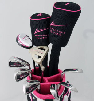 Exhibits black pink ROCK 'N' ROLL! ☆ Ladies 13 point Golf Club set fs3gm