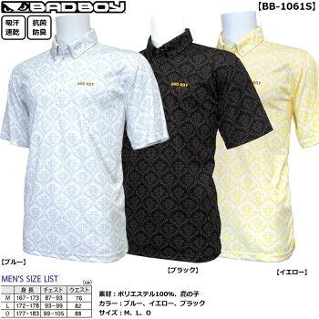 BADBOYクラシックな紋章柄をゆるく着るのが夏スタイルメンズ半袖ボタンダウンシャツBB-1061S