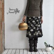 アジアン エスニック スカート ブラウン ファッション レディース