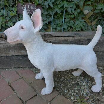 犬の置物ブルテリア(L)いぬイヌ動物3744-00オーナメントガーデンオブジェ庭ガーデニングインテリア雑貨マスコットリアル陶器ディスプレイ