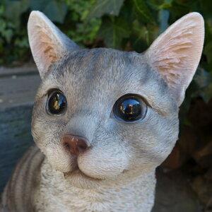 猫の置物グレー猫LキャットガーデンオブジェCATN12604動物オーナメントネコガーデニング置物インテリア雑貨