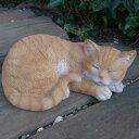 猫の置物 茶トラ猫 居眠り猫 6119H キャット ガーデンオブジェ CAT 動物 オーナメント ネコ 雑貨 ガーデン オブジェ ガーデニング インテリア マスコット アニマル リアル ディスプレィ アニマルオブジェ - わくわくガーデン