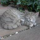 猫の置物 サバトラ猫 居眠り猫 6120H キャット ガーデンオブジェ...