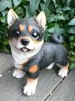 犬の置物 黒柴 9280h おまけ付 いぬ イヌ 動物 ガーデン オーナメント オブジェ 庭 置物 陶器 インテリア 雑貨