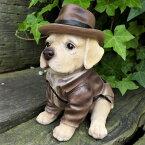 犬の置物ラブラドール帽子子犬T14079いぬイヌ動物オーナメントガーデンオブジェ庭雑貨ガーデニングインテリア雑貨マスコットリアルデスプレィアニマル