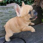 犬の置物フレンチブルドッグジャンプ185QYいぬイヌ動物オーナメントガーデンインテリア雑貨置物庭ガーデンマスコット雑貨小物ディスプレィ陶器リアル