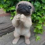 犬の置物パグのお願い102QYいぬイヌ動物オーナメントガーデンインテリア雑貨置物庭ガーデンマスコット雑貨小物ディスプレィ陶器リアル