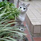 猫の置物親子でひょっこりサバ白121QYキャットガーデンオブジェCAT動物オーナメントネコ雑貨ガーデンオブジェガーデニングインテリアマスコットアニマルリアルディスプレィねこグッズ