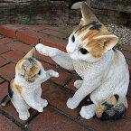 猫の置物親子三毛猫2匹セットMK77QYキャットガーデンオブジェCAT動物オーナメントネコ雑貨ガーデンオブジェガーデニングインテリアマスコットアニマルリアルディスプレィねこグッズ