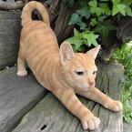 猫の置物伸び猫茶トラN13443キャットガーデンオブジェCAT動物オーナメントネコ雑貨ガーデンオブジェガーデニングインテリアマスコットアニマルリアルディスプレィねこグッズ