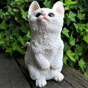 猫の置物 白猫の子猫 7239HT キャット ガーデンオブジェ CAT 動物 オーナメント ネコ 雑貨 ガーデン オブジェ ガーデニング インテリア マスコット アニマル リアル ディスプレィ ねこ グッズ