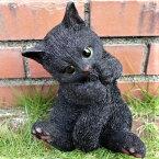 猫の置物子猫の甘えん坊黒猫BK117QYクロネコキャットガーデンオブジェCAT動物オーナメントネコ雑貨ガーデンオブジェガーデニングインテリアマスコットアニマルリアルディスプレィねこグッズ