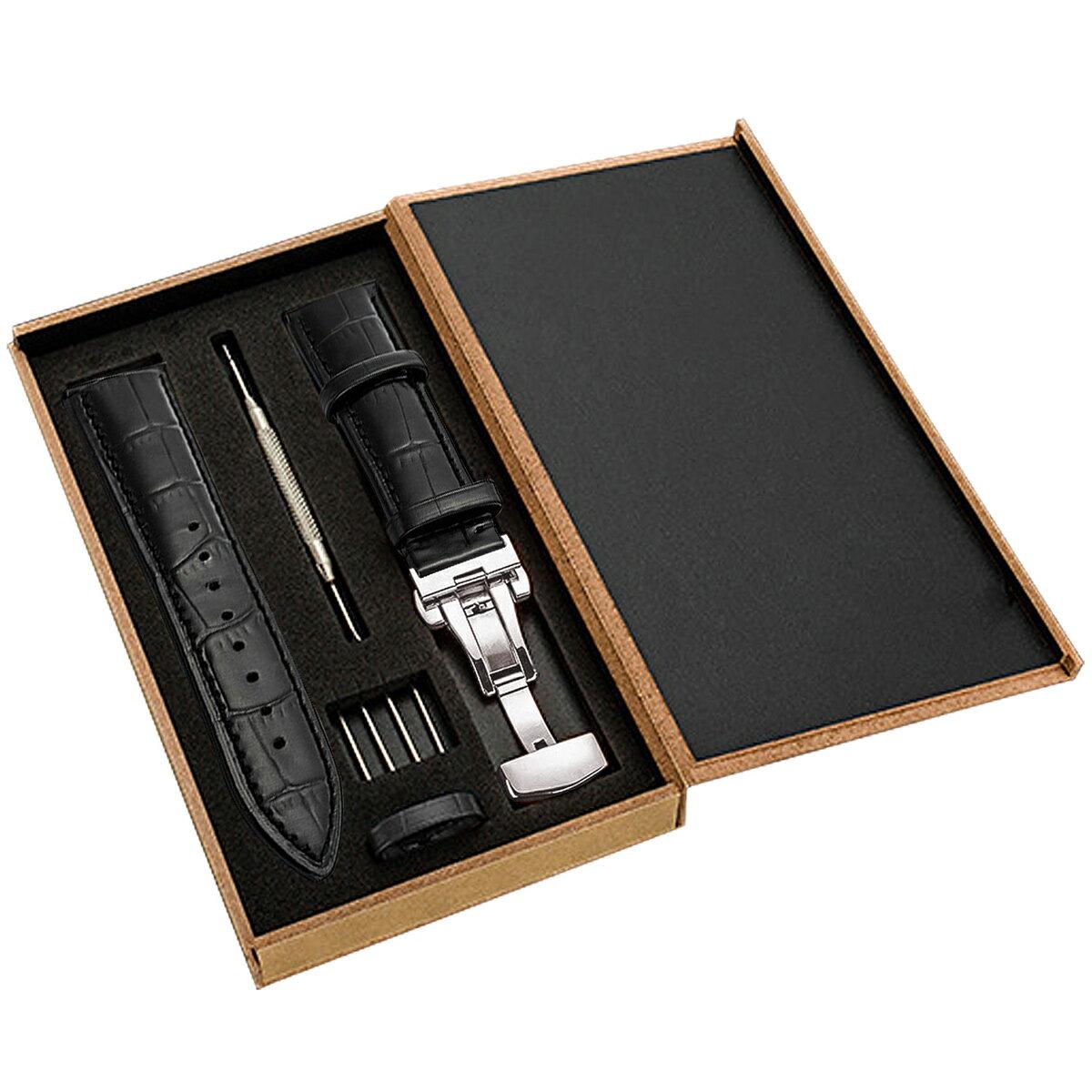 時計バンド 20mm 本革腕時計バンド 交換ベルト Dバックル 防水 防汗 メンズ腕時計レザーベルト 工具付き ボックス付き