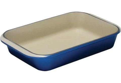 ル・クルーゼ Cast Iron Rectangular Dishes Roaster コバルトブルー