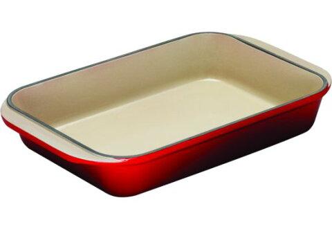 ル・クルーゼ Cast Iron Rectangular Dishes Roaster チェリーレッド