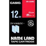 カシオ「ネームランドテープ・白文字・赤テープ(XR-12ARD)」