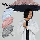 【Wpc.公式】 T/C 遮光 ギンガムチェックフラワー刺繍 【傘 日傘 長傘 晴雨兼用 レディース】