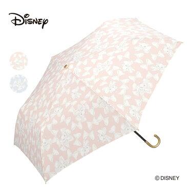 Wpc. ディズニー 折りたたみ傘 2カラー マリー Disney MARIE PALE RIBBON mini 傘 撥水 はっ水 雨傘 晴雨兼用 レディース 女性 雨 おしゃれ リボン おしゃれキャット ペールリボン ミニ