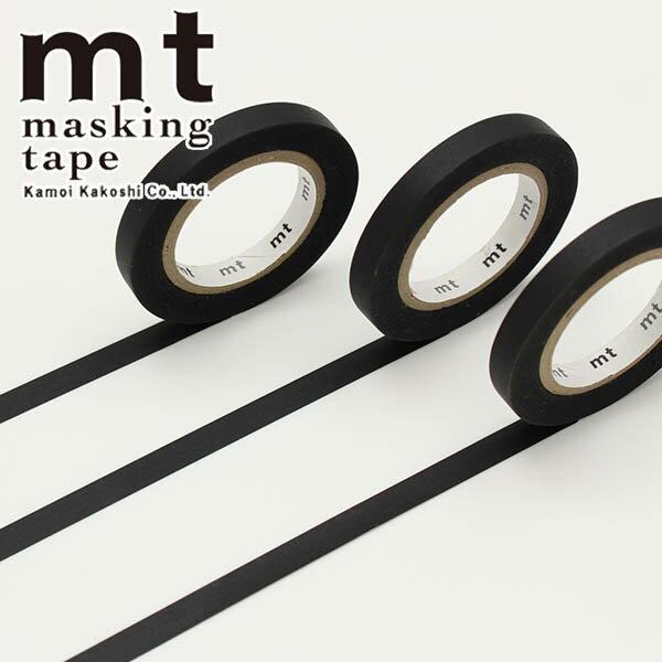【クーポン配布中】マスキングテープ mt カモ井加工紙mt slim J マットブラック3巻入りパック(6mm×10m)MTSLIM22