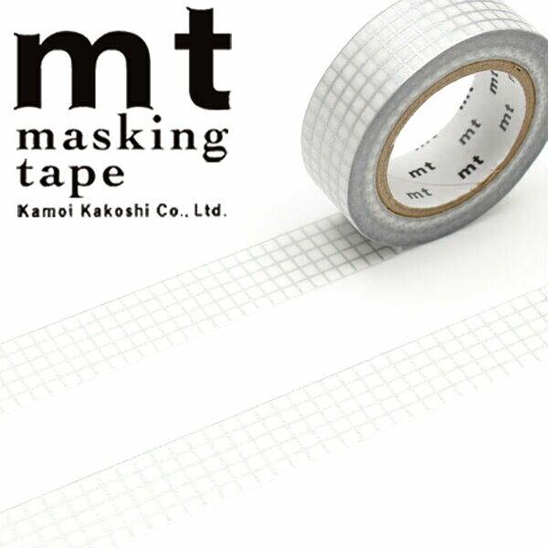 【クーポン配布中】マスキングテープ  mt カモ井加工紙 mt 1P (15mmx10m)MT01D399 方眼 銀