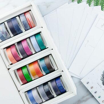 マスキングテープ 自己印 マスキングテープ 1.5mmx5m×24巻 ちぎり絵のポストカード12枚セット ZCI 1001399
