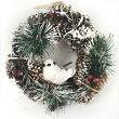 クリスマスディスプレイナチュラルリースナチュラルバード&パインコーン18cm57498