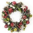 クリスマスディスプレイナチュラルリースチェリー&スターMサイズ81717