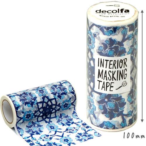 【クーポン配布中】マスキングテープ 幅広 ニトムズdecolfa デコルファ インテリアマスキングテープ100mm タイル ブルー(100mm×8m)M3700