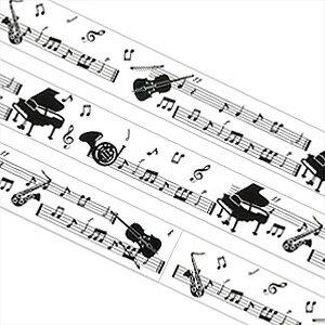 3240円以上で送料無料!(沖縄県をのぞく)楽譜と楽器の柄入りテープ!通常のセロテープサイズで...