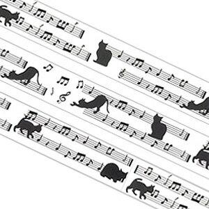 3150円以上で送料無料!(沖縄県をのぞく)猫と楽譜の柄入りテープ!通常のセロテープサイズです...
