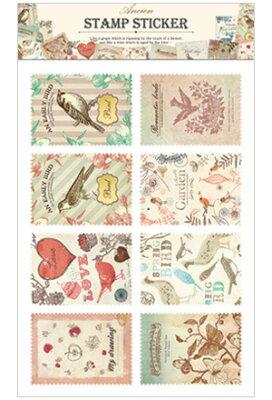 3150円以上で送料無料!(沖縄県をのぞく)切手風の可愛いステッカーシール♪小鳥やうさぎなどの...
