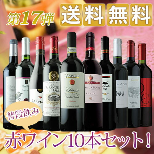 普段飲み赤10本セット 第17弾 送料無料 赤ワインセット【ギフト...