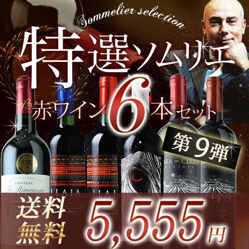 特選ソムリエ赤6本セット 第9弾 送料無料 赤ワインセット 【ギ...