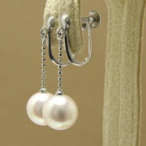 「あこや本真珠パールイヤリングホワイト系7.5-8.0mmBBBK14WG」ホワイトゴールド(アコヤ本真珠)