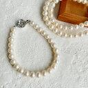 [ネコポス可]選べる3サイズ!淡水パール(真珠) パ−ルブレスレット ホワイト系 6.5-7.0mm ポテト バラクラスプ(淡...