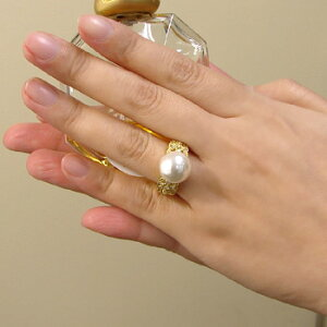 「透かしデザインリング枠(指輪金具)(K18)」(真珠用)