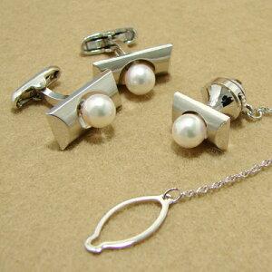 「あこや本真珠パールネクタイピン・カフス(カフリンクス)セットホワイト/グリーン系7.0-7.5mmBBBsilver」(アコヤ本真珠・黒真珠)