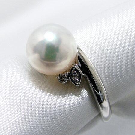 「あこや本真珠 パールリング(指輪) ホワイト系 8.5-9.0mm AAB  Pt900」 プラチナ[n5](冠婚葬祭 フォーマル 入学式 卒業式 成人式):真珠の卸屋さん