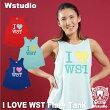 【ネコポス対応】Wstudioダブルスタジオ【全3色】ILOVEWSTFlareTankフィットネスウェア